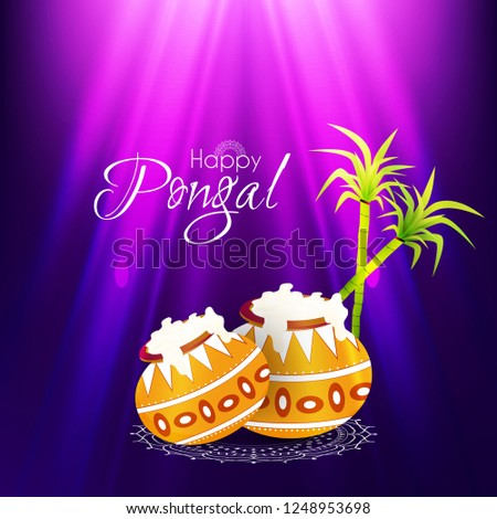 Innovative abstract, banner or poster for Pongal with nice and creative design illustration, south Indian Festival, Happy Pongal. #1248953698