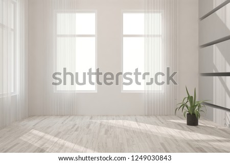 White empty room. Scandinavian interior design. 3D illustration #1249030843