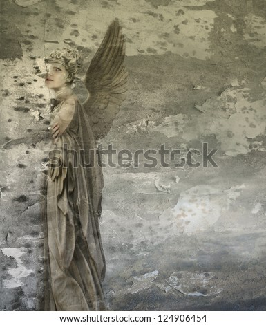 Fantasy artistic background representing a woman angel