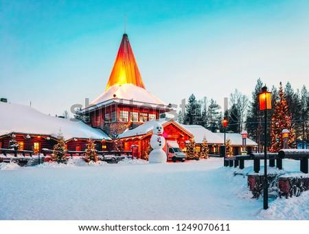 Snowman at Santa Office of Santa Claus Village in Rovaniemi in Lapland in Finland. #1249070611