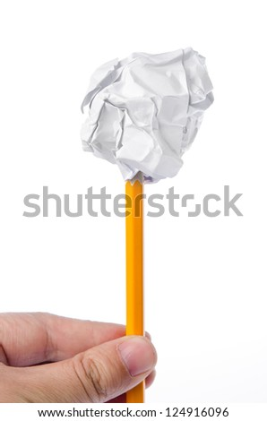 Crumpled paper ball and pencil #124916096