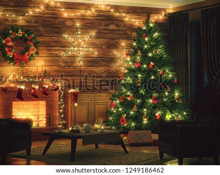 3D Rendering Christmas interior in night colors #1249186462