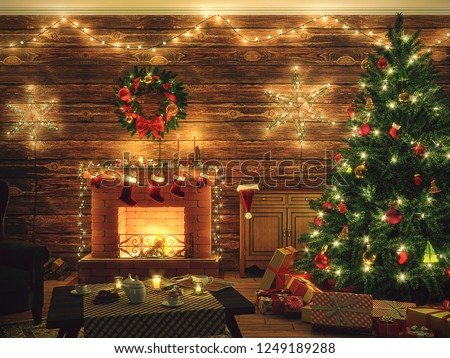 3D Rendering Christmas interior in night colors #1249189288