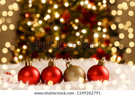 Christmas decorations red and golden balls on snow holiday card template #1249262791