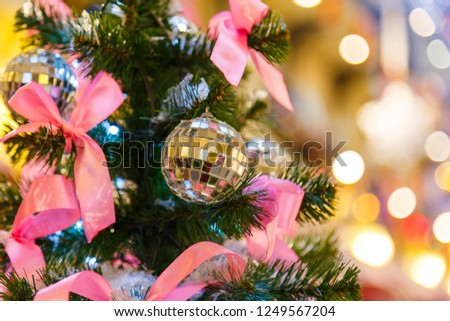 Traditional christmas or new year decorated fir tree #1249567204