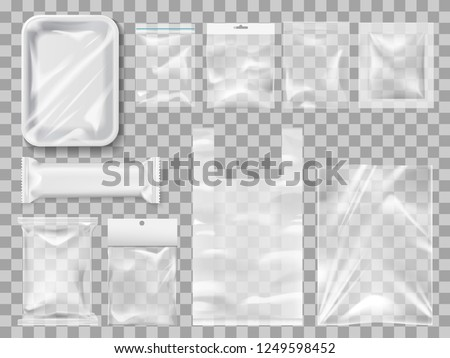 Empty packs, plastic package and vacuum containers mockups for food. Transparent disposable clean packages for meat and chocolate bar, spices and pastry. Transparent packets to carry and keep goods #1249598452
