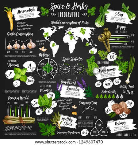 Spices and herbs infographic poster. Vector of diagrams on herbal seasonings on world map. Percent statistic for condiments and garden spice production, ginger and poppy, thyme, oregano and tarragon #1249607470