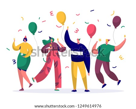 Group of joyful people celebrating New Year or Birthday party. Man and woman characters in hats having fun and having toast with confetti and balloons. Vector illustration Royalty-Free Stock Photo #1249614976