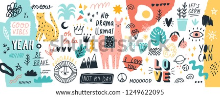 Collection of handwritten slogans or phrases and decorative design elements hand drawn in trendy doodle style - animals, plants, symbols. Colorful vector illustration for T-shirt or sweatshirt print. #1249622095