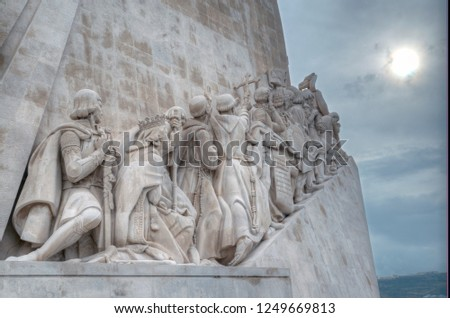 LISBON, PORTUGAL - NOVEMBER 22, 2018: Monument to the Discoveries. 52 metres tall, this monument commemorates the five hundredth anniversary of the death of Henry the Navigator,  #1249669813