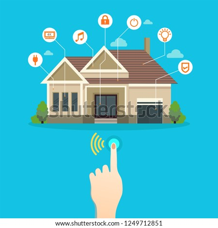 Smart home connected and control with technology devices through internet network, Internet of things background. #1249712851