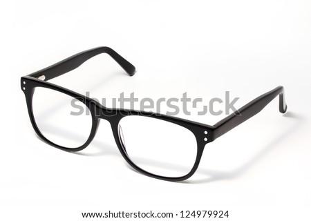 Black Eye Glasses Isolated on White Royalty-Free Stock Photo #124979924
