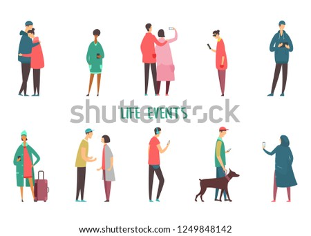 Set of isolated people icons at walk. Couple taking selfie and argue, hugging. Man walking with dog and with tablet, characters with smartphone, woman using phone for chatting. Life events, stroll #1249848142