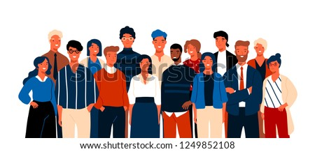 Group portrait of funny smiling office workers or clerks standing together. Team of cute cheerful male and female employees or colleagues. Colorful vector illustration in flat cartoon style.