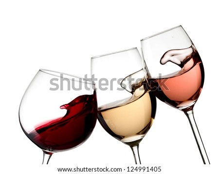 Red, white and rose wine glasses up #124991405