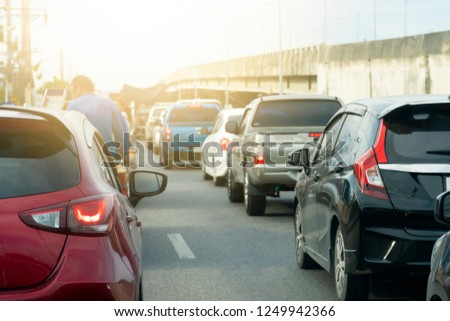 Cars on the road stop by traffic jam on business or trip to travel. Open light brake. #1249942366