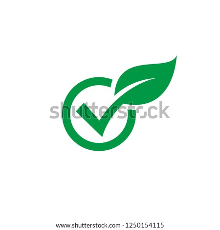 Check leaf icon logo vector, check wood logo vector, green check audit icon