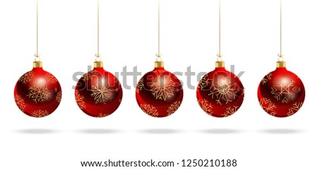 Red balls with a pattern of gold stars. New Year. Christmas. Set. Realistic vector image. #1250210188
