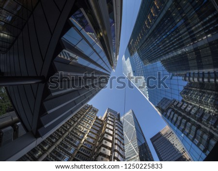 Looking directly up at the skyscrapers in London's financial district #1250225833