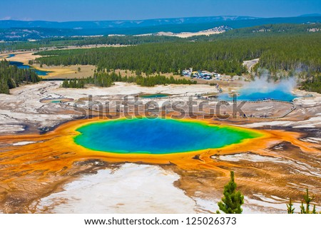 Grand Prismatic Spring in Yellowstone National Park Royalty-Free Stock Photo #125026373