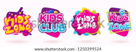 Kids zone colorful banner set. Colorful caramel text on abstract background. Sign for children's game room. Funny cartoon frames. Bright decoration element for childish party. Vector eps 10. #1250399524