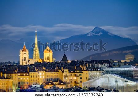 Geneva night view with the Alps #1250539240