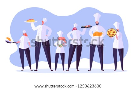 Chef characters set. Cartoon chief cooking in restaurant. Cook with tray and different meals. Food industry. Vector illustration Royalty-Free Stock Photo #1250623600