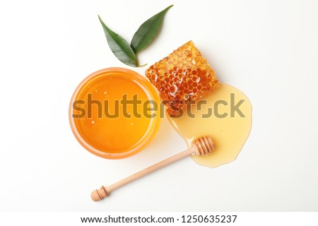 Composition with fresh honey on white background, top view #1250635237