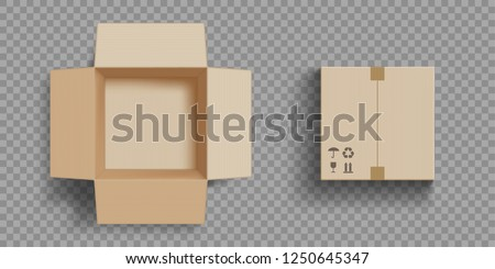Empty open and closed cardboard box. Isolated on a transparent background. Vector illustration. Royalty-Free Stock Photo #1250645347