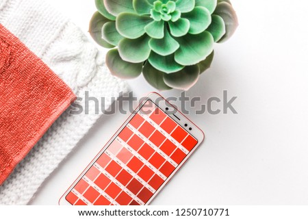 Color of the year 2019 Living coral . COY 2019 Livingcoral. Color palette Pantone on mobile phone #1250710771