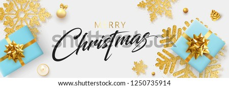 White Merry Christmas banner with blue top view gifts and golden snowflakes. Vector background. #1250735914