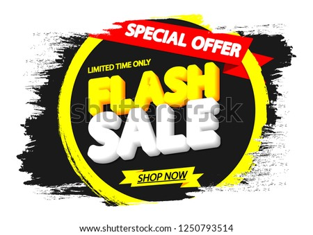 Flash Sale, banner design template, discount tag, grunge brush, special offer, red ribbon, vector illustration #1250793514