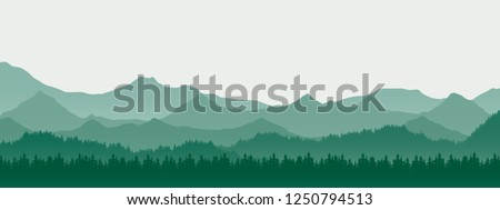 Realistic illustration of mountain landscape with hill and forest with coniferous trees, under green spring sky with space for text - vector Royalty-Free Stock Photo #1250794513