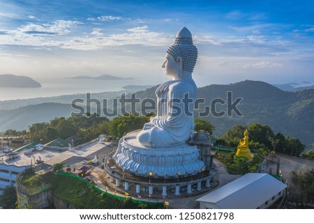 areial photography Phuket big Buddha in blue sky. 