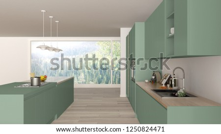 Modern minimalist green and wooden kitchen with island and big panoramic window, parquet, pendant lamps, contemporary architecture interior design, 3d illustration #1250824471