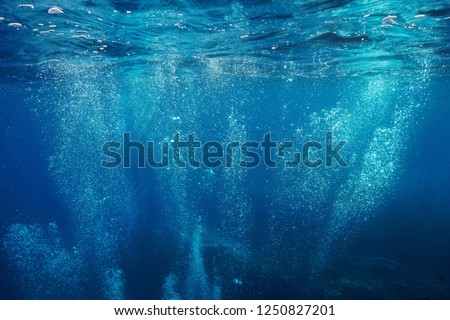 Air bubbles underwater rising to water surface, natural scene, Mediterranean sea, France Royalty-Free Stock Photo #1250827201