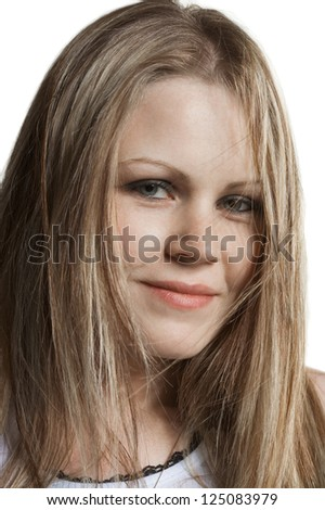 Studio shot of a young caucasian woman on white background #125083979