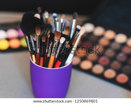 set of makeup brushes on the background of professional eye shadow pallets #1250869801