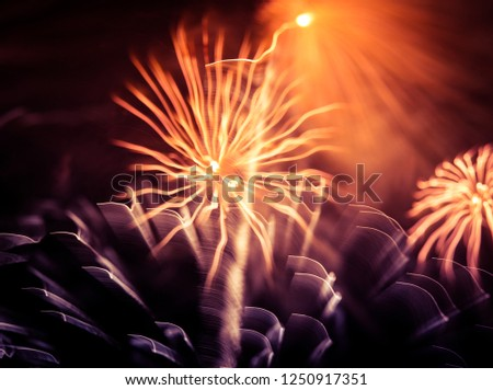 A beautiful, abstract artistic image of New Year Eve fireworks. Colorful picture with blur and lights.  Festive background image.