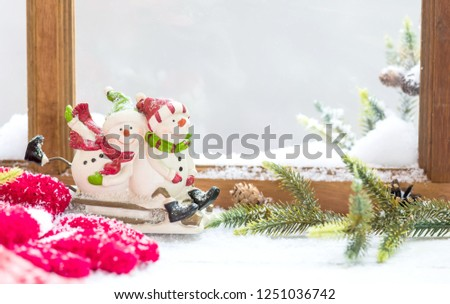 Christmas and Happy New Year background. Winter season holiday with decoration and copy space for text. #1251036742