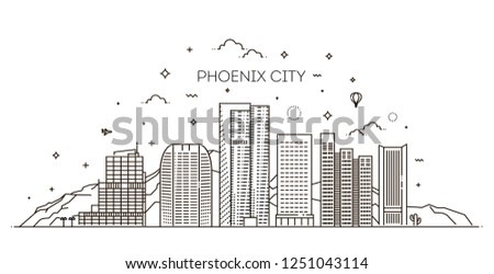 Phoenix skyline, detailed silhouette. Trendy vector illustration, linear style