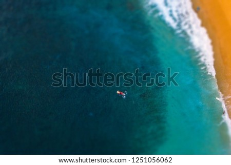 Aerial view of the longboard surfer in the bay with yellow sand. Tilt shift effect applied #1251056062
