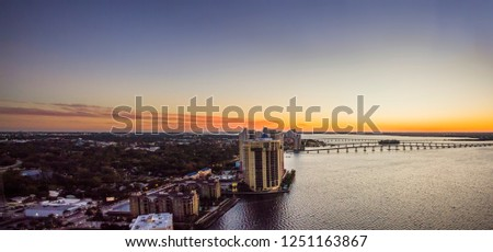 Sunset over the skyline of downtown Fort Myers, Fl. #1251163867