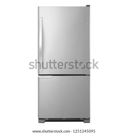 30 Inch Bottom-Freezer Refrigerator 12.9 Cu. Ft. Isolated on White. Front View of Stainless Steel 2 Door Side by Side Two Door Fridge Bottom Freezer 5.6 Cu. Ft. Kitchen and Domestic Appliances #1251245095