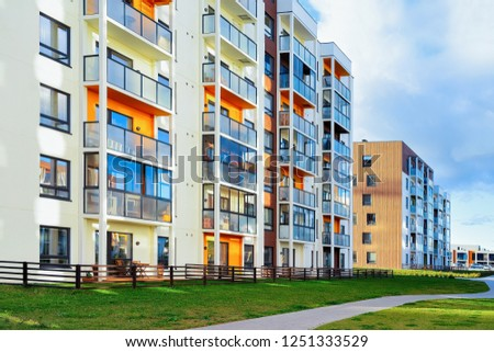Apartment home and house residential building outdoor concept. Street and backgrounds. #1251333529