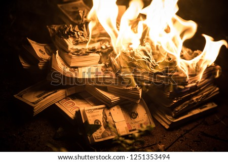Pile of Money on Fire Royalty-Free Stock Photo #1251353494