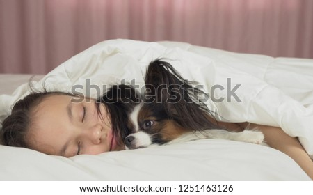 Papillon dog wakes teen girl in bed #1251463126