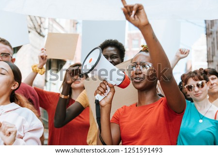Peaceful protest in downtown Kansas City Royalty-Free Stock Photo #1251591493