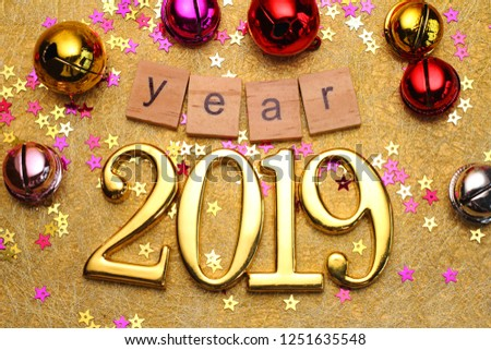 2019 gold numbers text and decoration. New year is the first day of the year in the Gregorian calendar. #1251635548