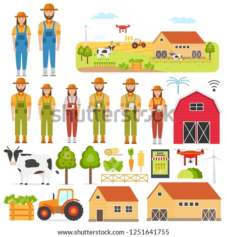 Set of happy farmers and smart Farming elements. Agricultural automation and robotics with modern technologies (GPS Control, Farming Data, Survey Drones, Livestock, Agribots). Vector illustration. #1251641755